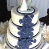 3 Tier Ivory Blue Wedding Cake from £432
