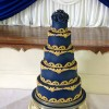 5 Tier Blue and Gold Baroque Wedding Cake from £695