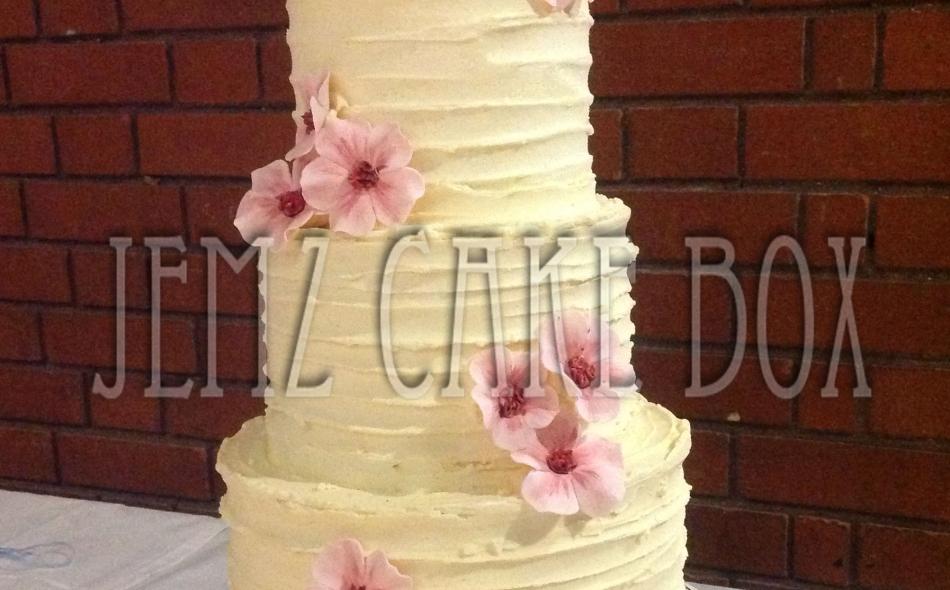 Rustic 3 Tier Buttercream Wedding Cake | Jemz Cake Box