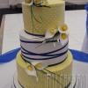 Yellow & Blue Calla Lily Wedding Cake