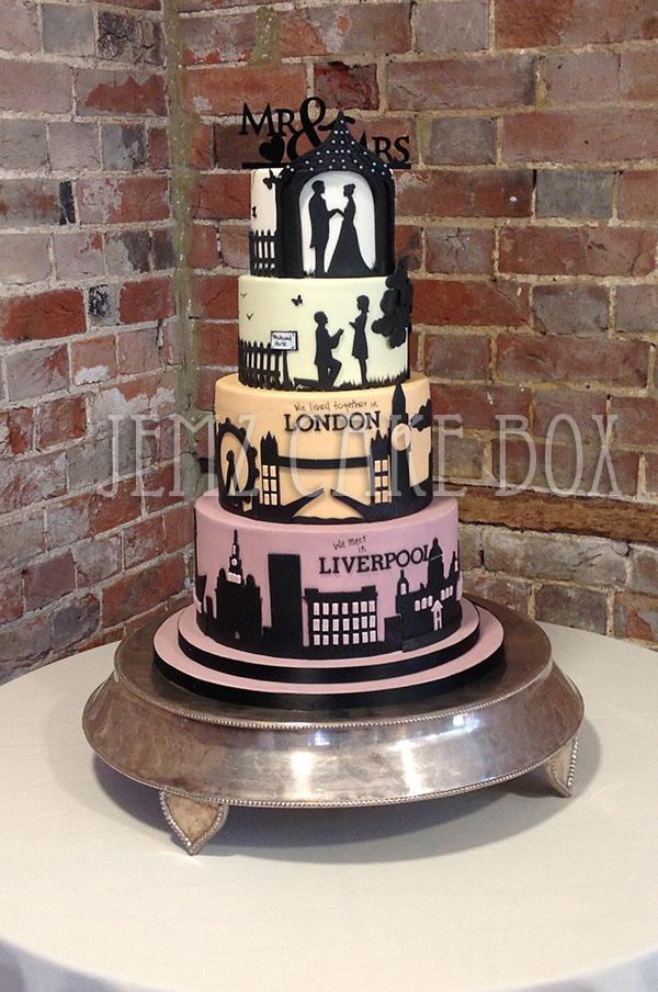 Silhouette London Liverpool Skyline Wedding Cake