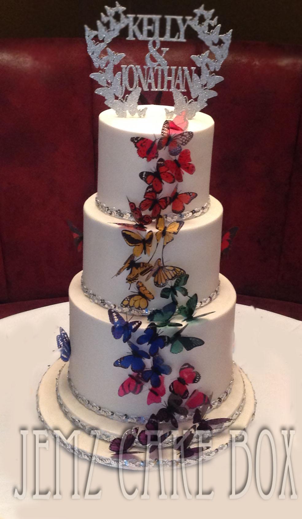 3 Tier Butterfly Wedding Cake 163 475 Jemz Cake Box3 Tier