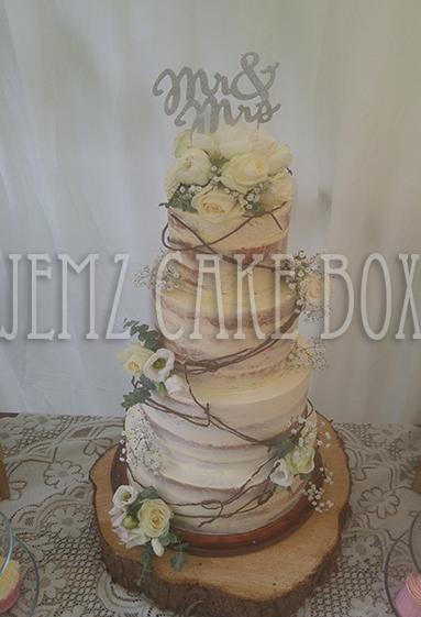 4 Tier Semi Naked Wedding Cake Jemz Cake Box