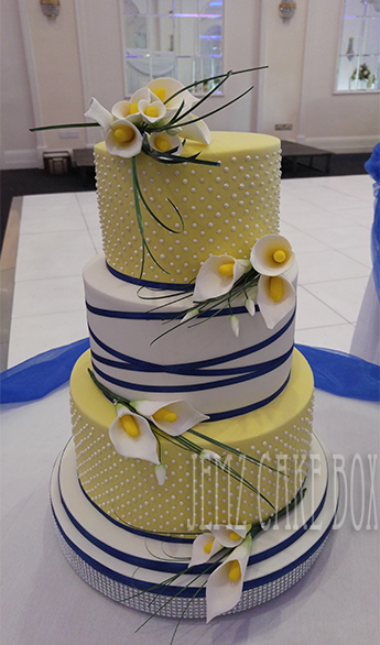 3 Tier Yellow Amp Blue Calla Lily Wedding Cake 163 570 Jemz