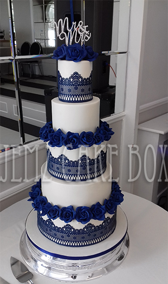 royal blue and white square wedding cakes 5 tier blue lace wedding cake from 163 695 jemz cake box 19357