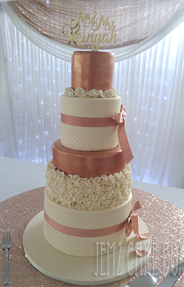 rose gold wedding cake 4 tier gold amp ivory ruffle wedding cake from 163 595 7119